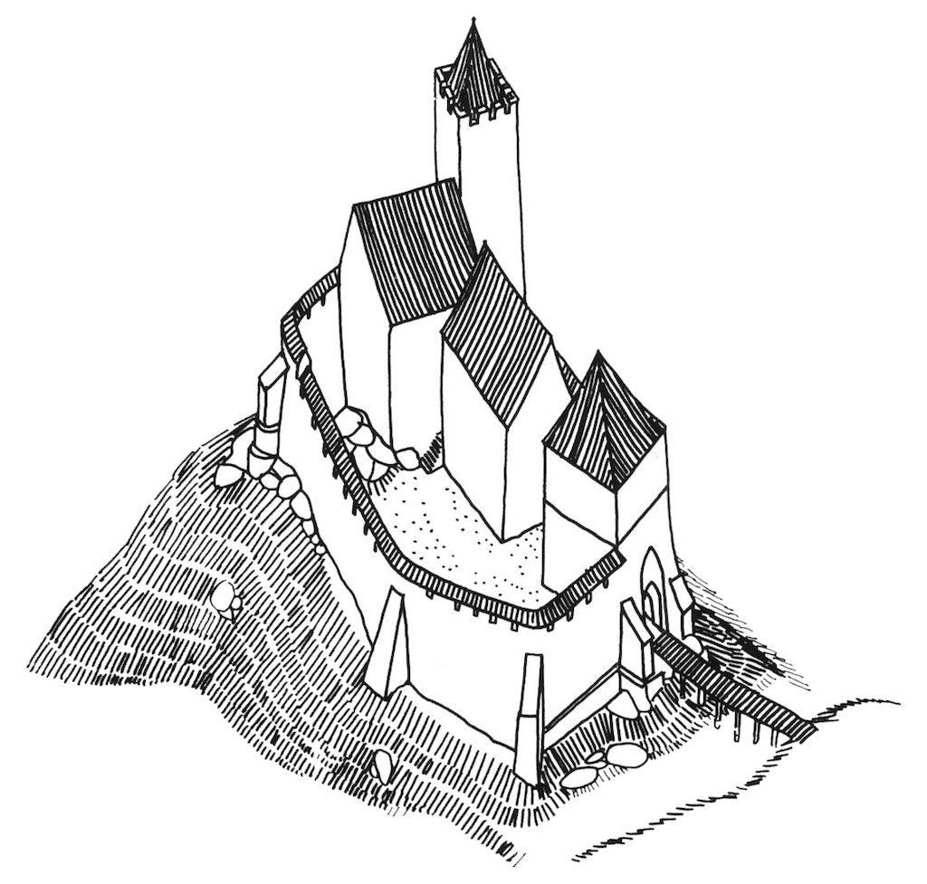 Rekonstrukcja Zamku Grodno z XIV wiek - Autor: prof. Jerzy Rozpędowski