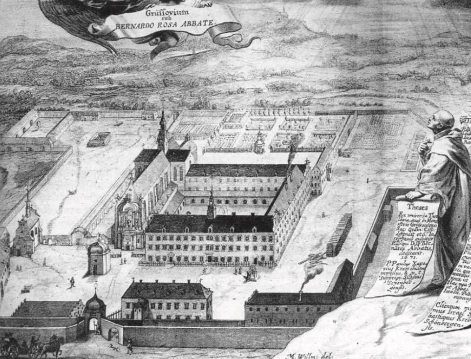 Opactwo w Krzeszowie na miedziorycie z 1678 roku