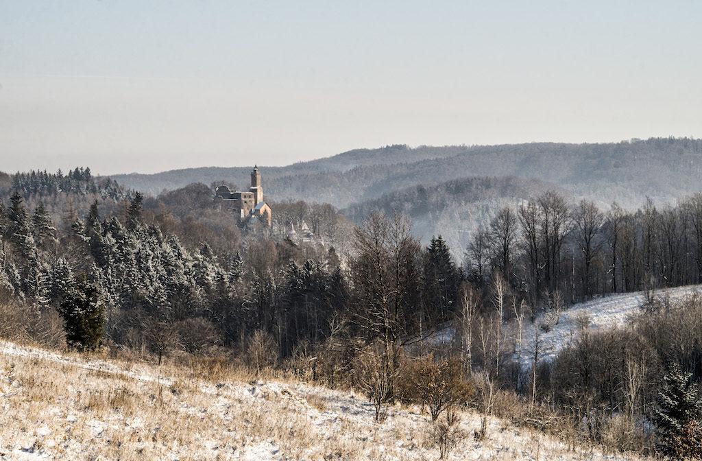 Widok na Zamek Grodno, w tle Góry Sowie – Foto: Adrian Sitko