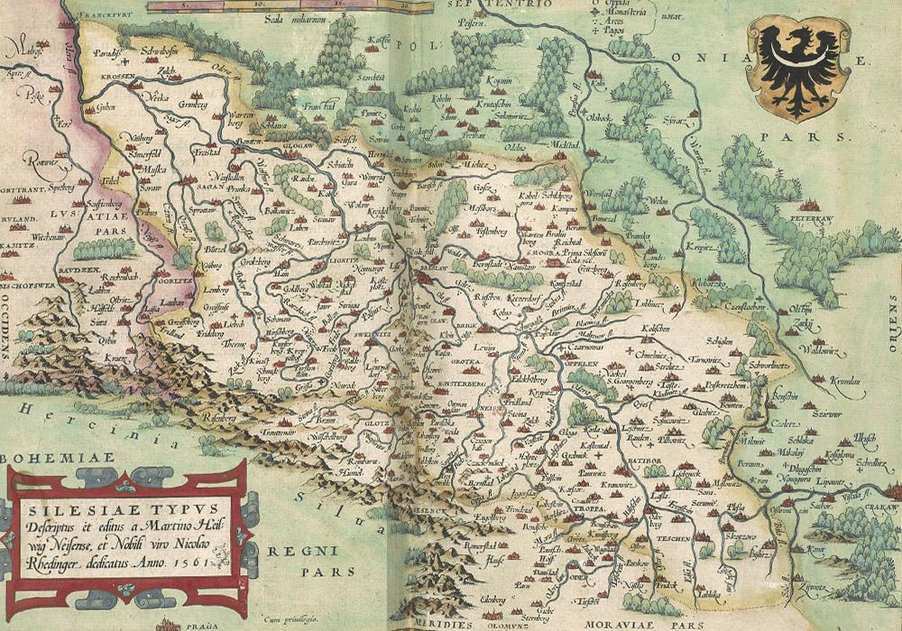 Stara mapa Śląska z 1561 roku