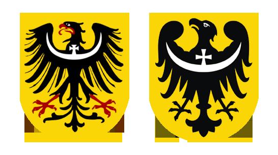 Herby Dolnego Śląska, po lewej przedwojenny po prawej współczesny