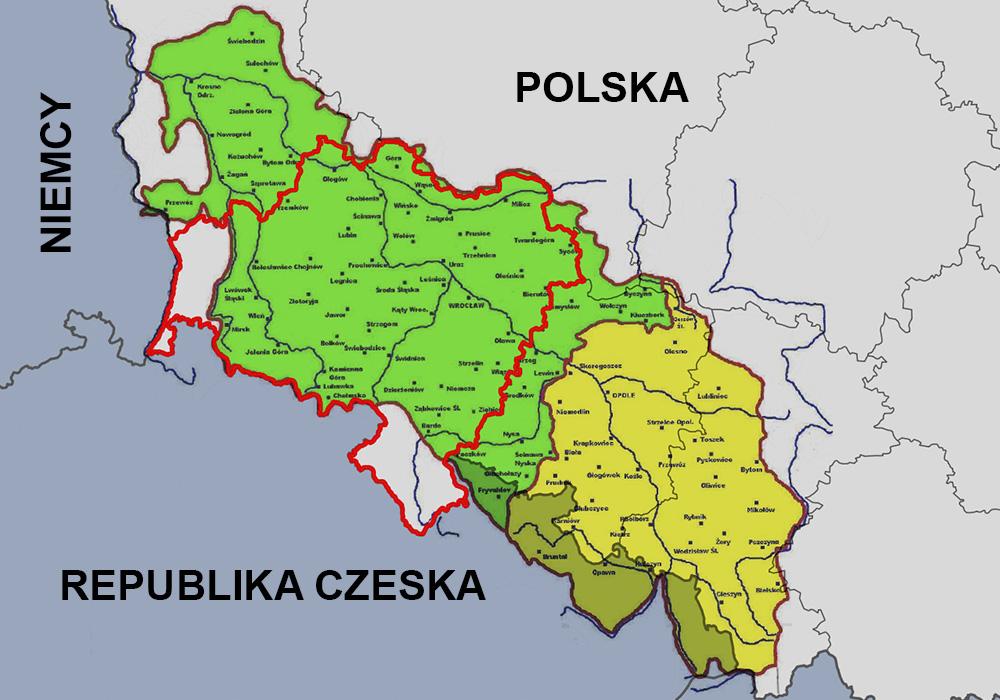 Obszar historycznego Dolnego (zielony) i Górnego Śląska (żółty) na tle granicy województwa dolnośląskiego