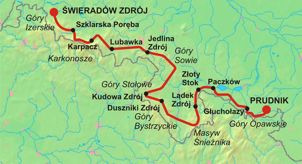 Przebieg Głównego Szlaku Sudeckiego im. dr. Mieczysława Orłowicza – Autor: Radosław Botev Źródło: wikimedia.org