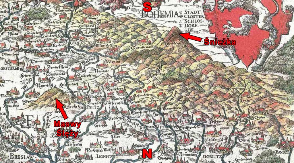 Sudety na mapie Martina Helwiga z 1561 roku