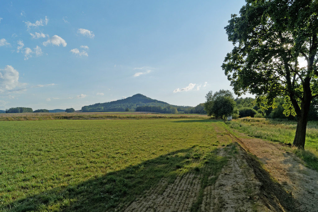 W tle Ostrzyca (Pogórze Kaczawskie) będąca pozostałością neku wulkanicznego