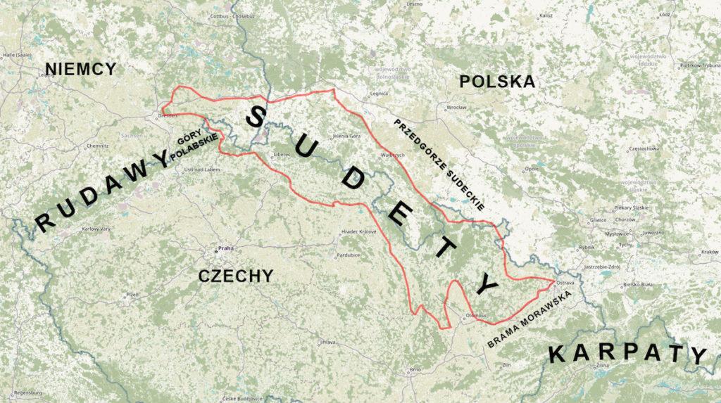 Położenie Sudetów – Sudety na mapie Polski, Czech i Niemiec – Podkład mapy: OpenStreetMap