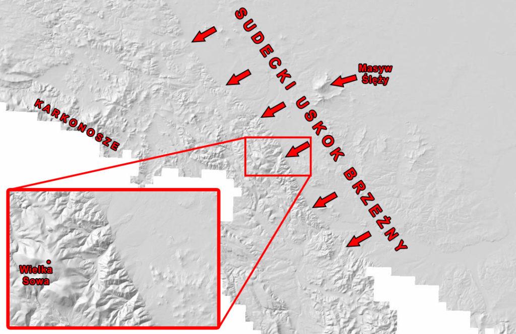Sudecki uskok brzeżny widziany na modelu numerycznym terenu – Źródło: Geoportal.gov.pl