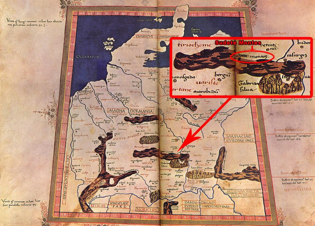 Mapa Germanii (Germania magna) sporządzona w XV wieku na podstawie opisu Ptolemeusza, zaznaczone zostały na niej Sudety (Sudete Montes)