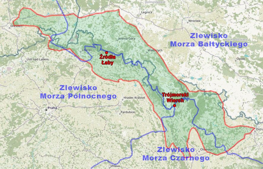 Sudety i poglądowy obszar zlewisk trzech mórz – Podkład mapy: OpenStreetMap