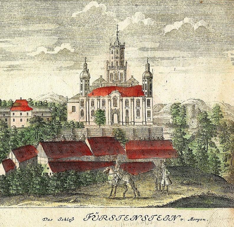 Zamek Książ (Schloß Fürstenstein) na rycinie z 1738 roku autorstwa Friedricha B. Wernera