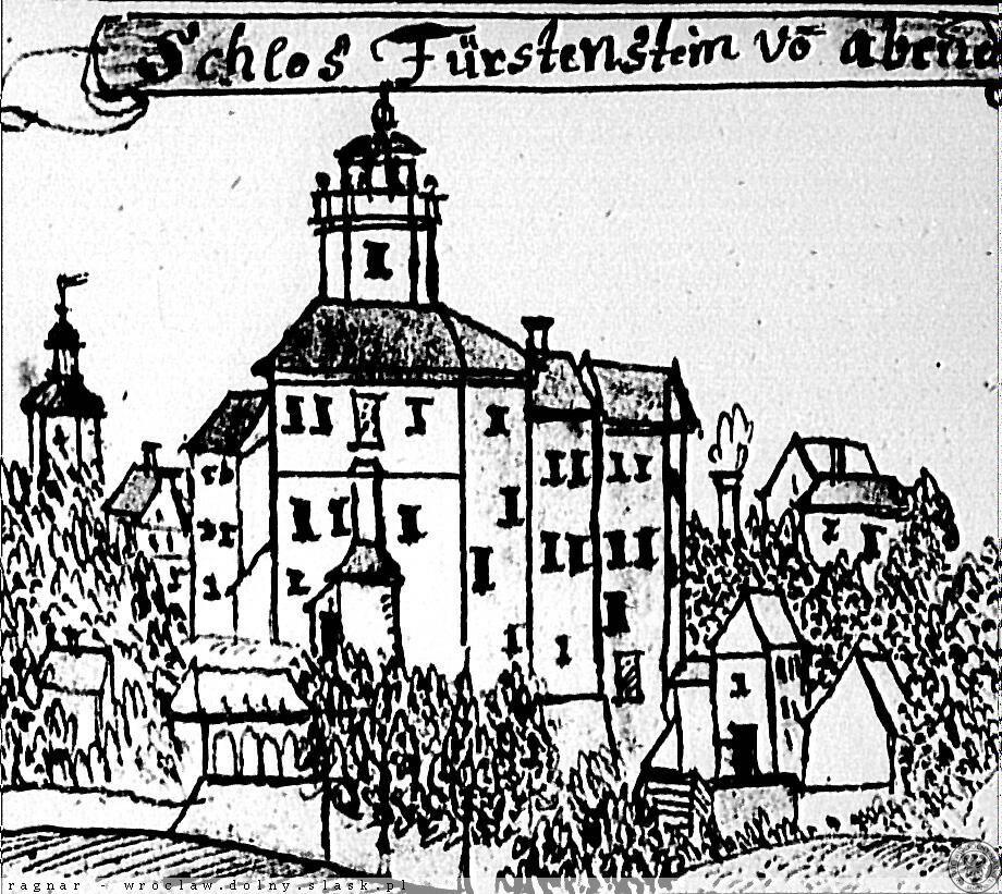 Rycina przedstawiająca Zamek Książ w XVII wieku – Źródło: polska-org.pl