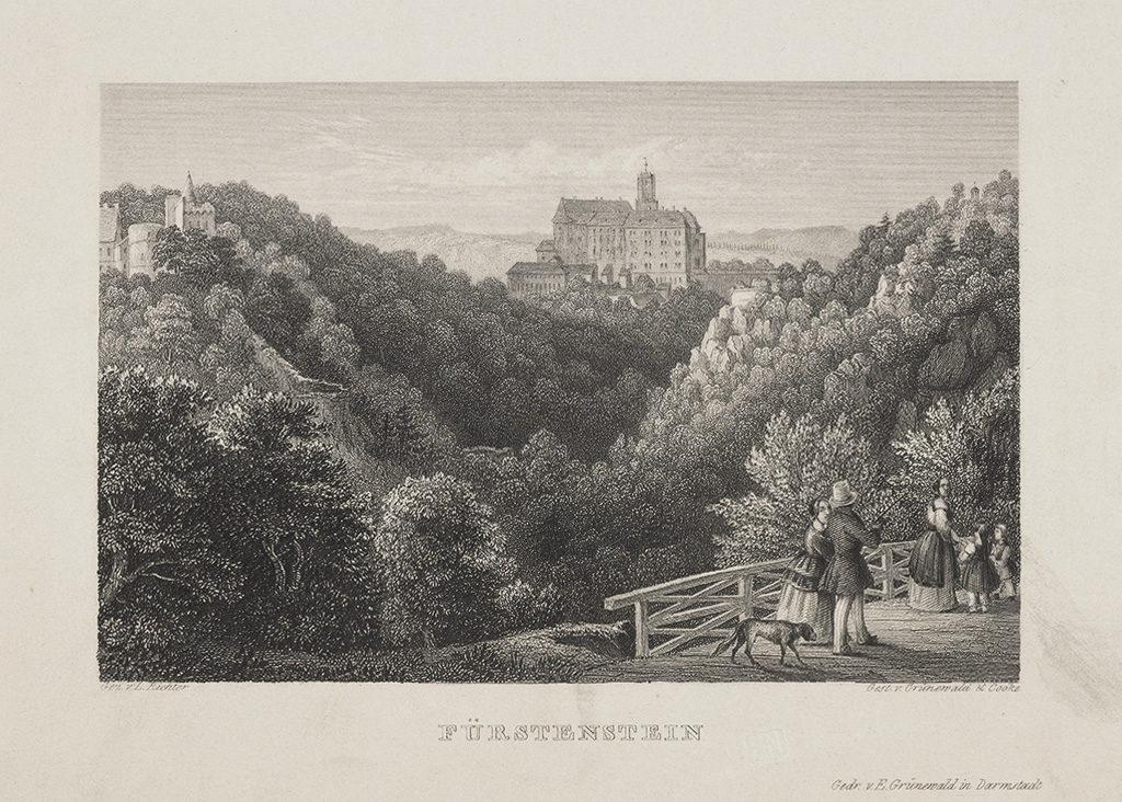 Grafika przedstawiająca Zamek Książ w XIX wieku – Źródło: Biblioteka Narodowa