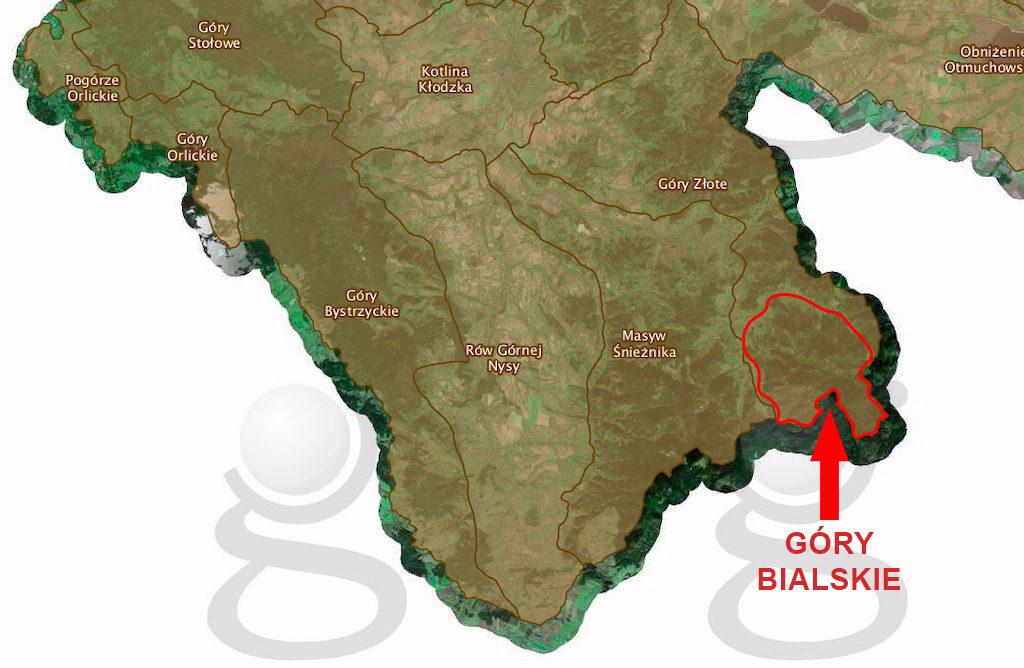 Podział fizjograficzny wg. portalu Geoserwisu GDOŚ, podobnie jak inne podziały, nie wyodrębnia Gór Bialskich, są one częścią Gór Złotych – Źródło: geoserwis.gdos.gov.pl