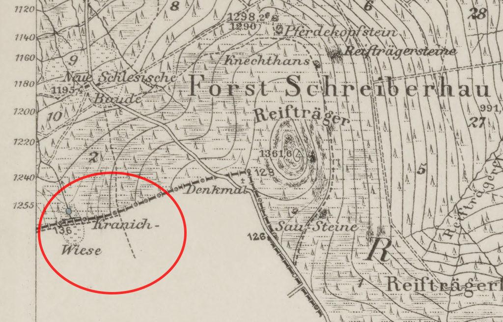 Hala Szrenicka (Kranich Wiese – Żurawia Łąka) na przedwojennej niemieckiej mapie Messtischblatt