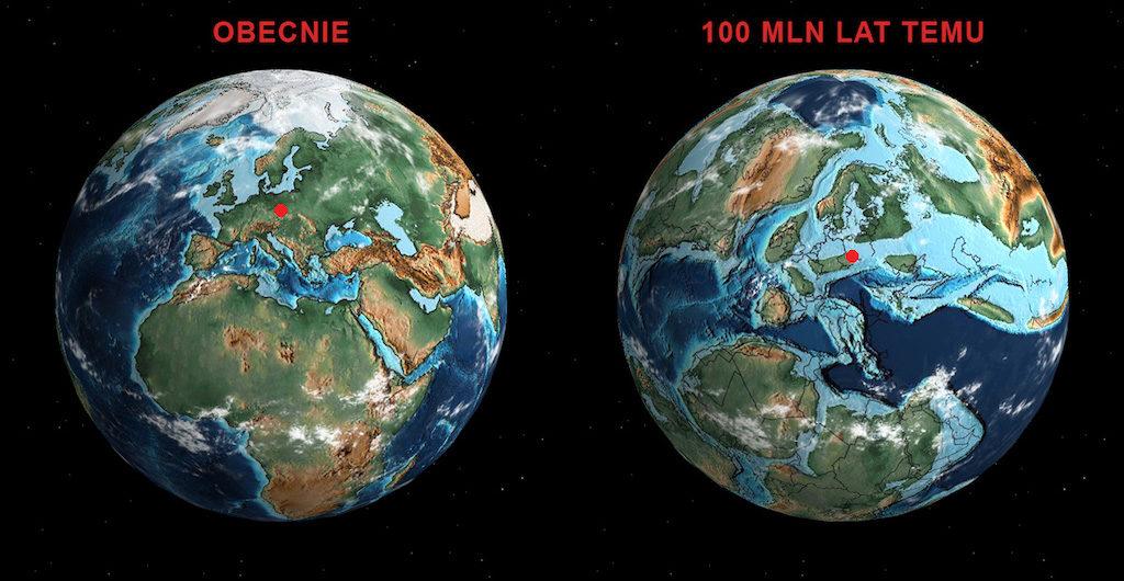 Na modelu Ziemi czerwoną kropką zostało zaznaczone położenie Gór Stołowych obecnie i około 100 mln lat temu, kiedy obszar ten przykrywało morze – Źródło: http://dinosaurpictures.org