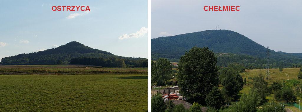 Ostrzyca to pozostałość wulkanicznego neku, Chełmiec zaś jest lakolitem – nie są wulkanami