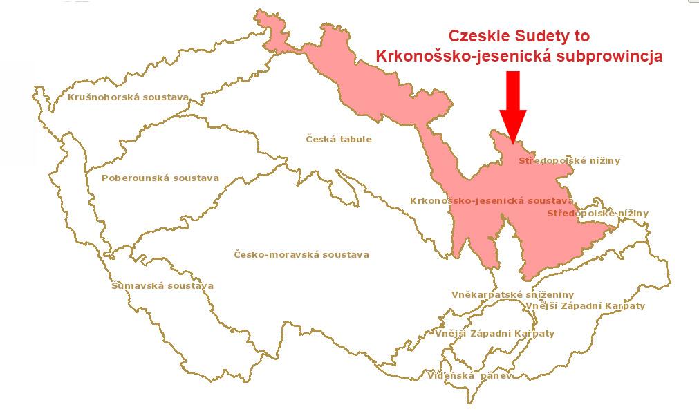 Zgodnie z czeskim podziałem oficjalnie Sudetów w Czechach nie ma, jest za to Krkonošsko-jesenická subprowincja – Żródło: geoportal.gov.cz