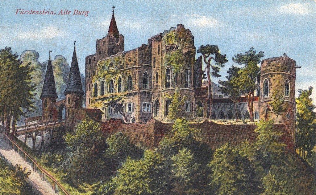 """Stylizowane """"ruiny"""" Zamku Stary Książ na pocztówce z XX wieku – Źródło: polska-org.pl"""