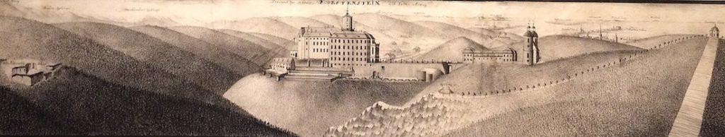 Grafika przedstawiająca nowy i stary zamek – Po lewej stronie widać ruiny pierwszego średniowiecznego zamku – Zbiory: Muzeum Narodowe we Wrocławiu