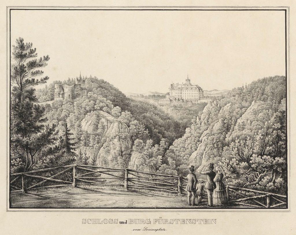 Stary Zamek Książ (po lewej) i nowy Zamek Książ (po prawej) na litografii z połowy XIX wieku