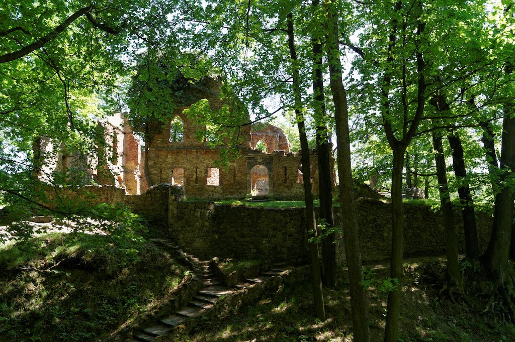 Wejście do zamku poprzedza pozostałość po dawnej suchej fosie wykutej w skale