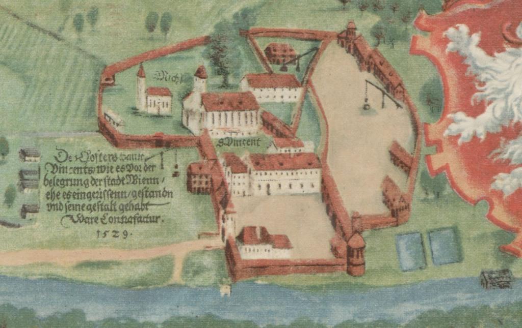 Opactwo św. Wincentego na Ołbinie na XVI-wiecznym planie Wrocławia autorstwa Barthela Weihnera
