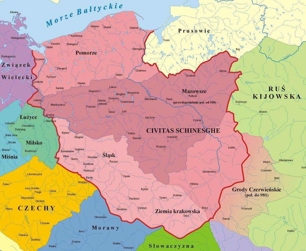 Przypuszczalny zasięg państwa Mieszka I – Autor: Poznaniak Źródło: wikimedia.org