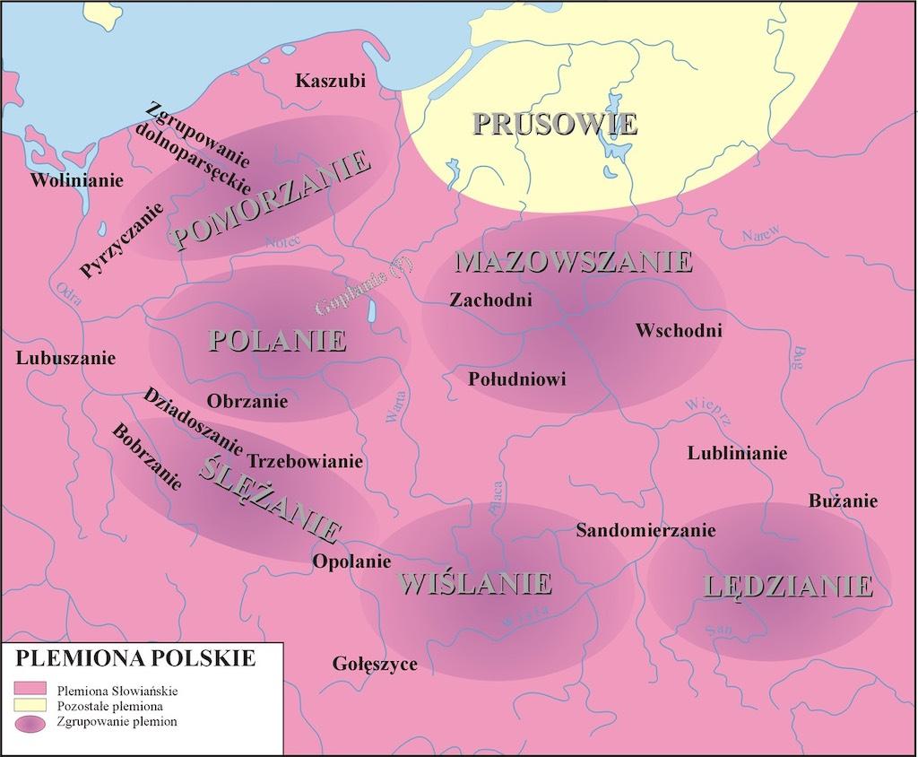 Przypuszczalne rozmieszczenie plemion – Autor: Poznaniak Źródło: wikimedia.org