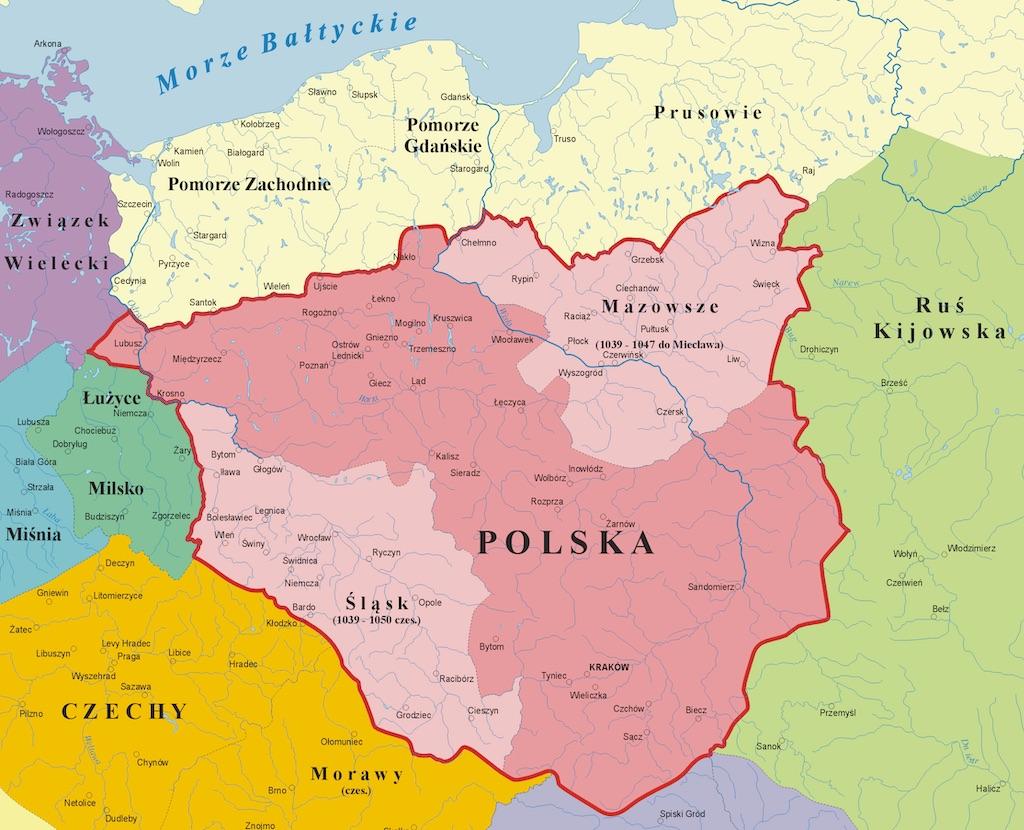 Państwo polskie za czasów Kazimierza I Odnowiciela – Autor: Poznaniak Źródło: wikimedia.org