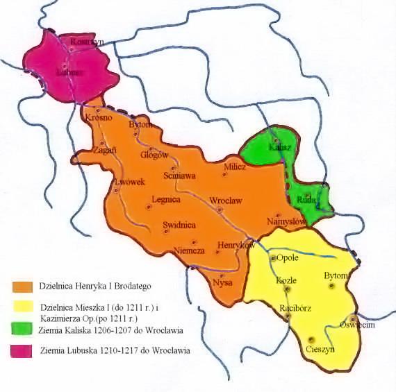 Śląsk w latach 1206–1217 – Autor: Zuber Źródło: wikimedia.org