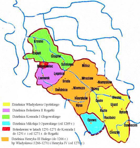 Śląsk w latach 1249–1273 – Autor: Zuber Źródło: wikimedia.org