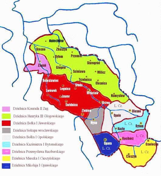 Śląsk w latach 1296–1301 – Autor: Zuber Źródło: wikimedia.org