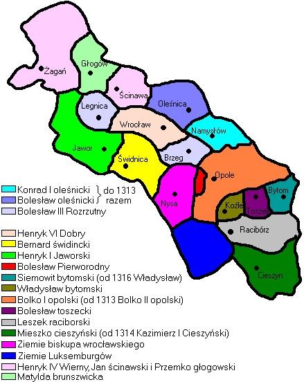Śląsk w latach 1312–1317 – Autor: Mix321 Źródło: wikimedia.org