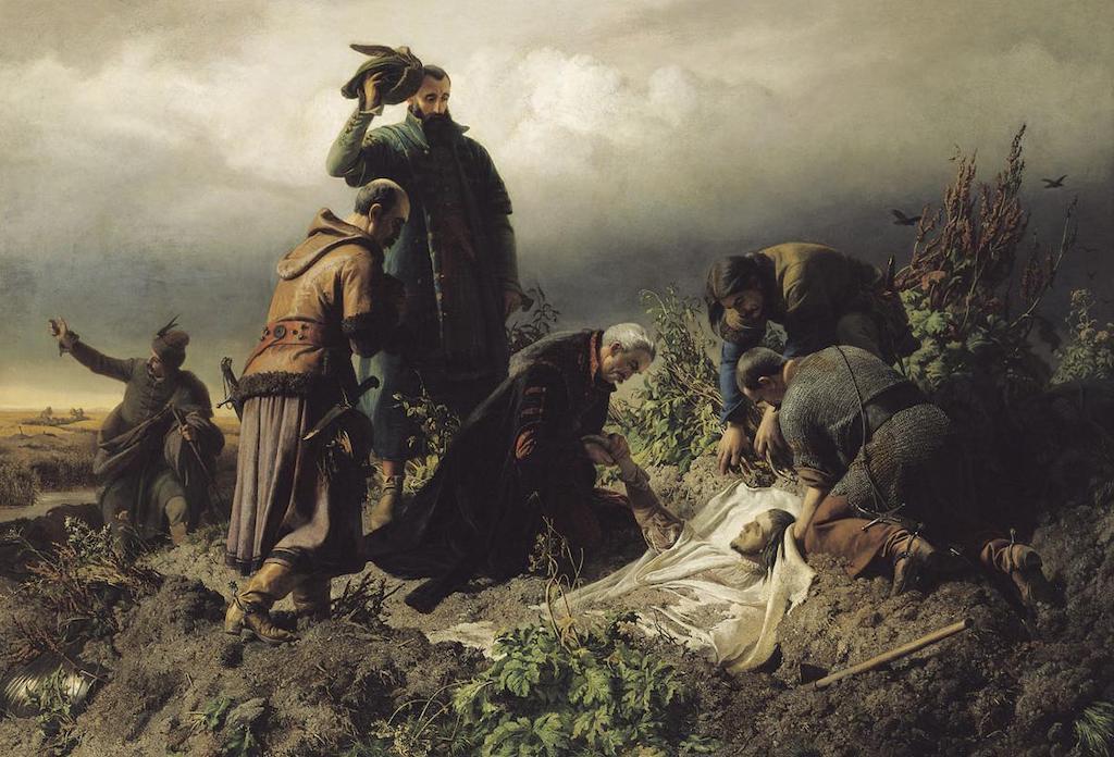 Odnalezienie ciała króla Ludwika II Jagiellończyka po bitwie pod Mohaczem w 1526 roku – Autor: Bertalan Székely