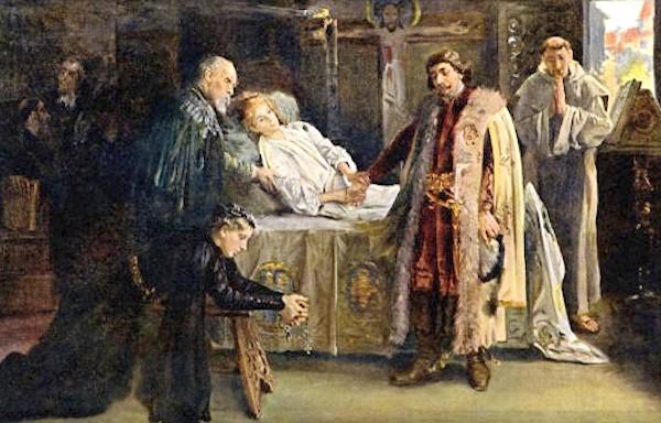 Przyszły król Czech Jerzy z Podiebradów przy łożu umierającego Władysława Pogrobowca – Autor: Jan Skramlík