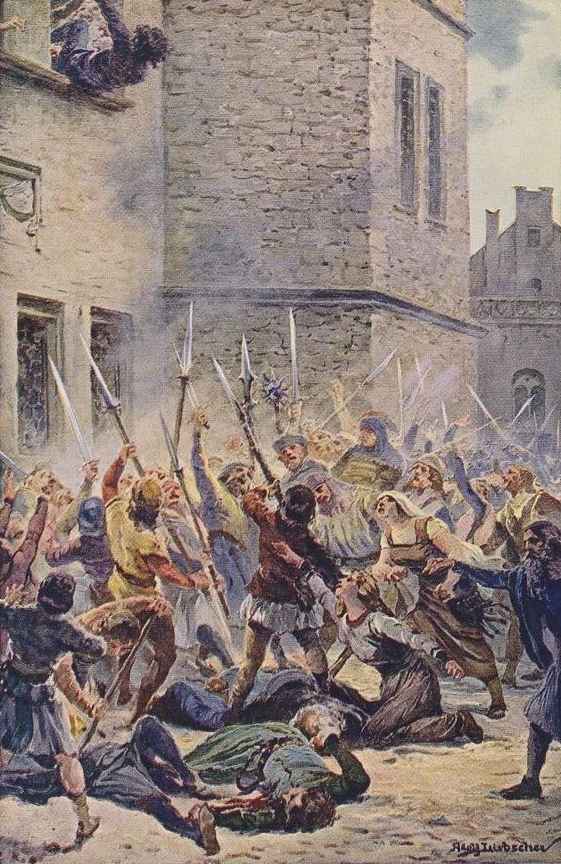 Pierwsza defenestracja praska w 1419 roku – Autor: Adolf Liebscher