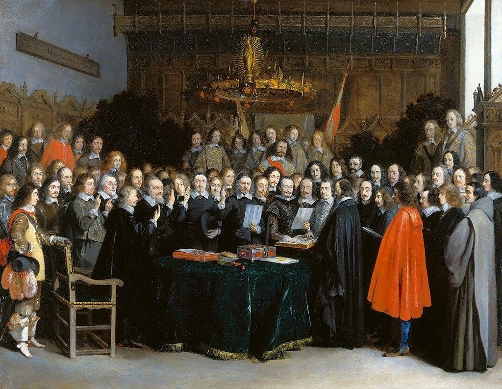 Zawarcie pokoju westfalskiego w 1648 roku – Autor: Gerard ter Borch