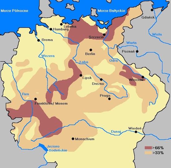 Straty ludności po wojnie trzydziestoletniej – Autor: Mix321 Źródło: wikimedia.org