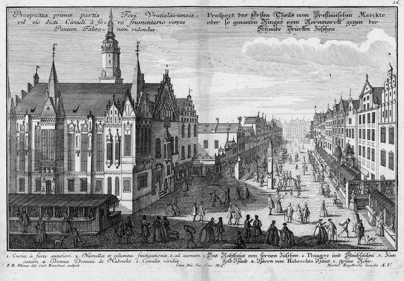Wrocław (rynek) w pierwszej połowie XVIII wieku – Autor: Martin Engelbrecht
