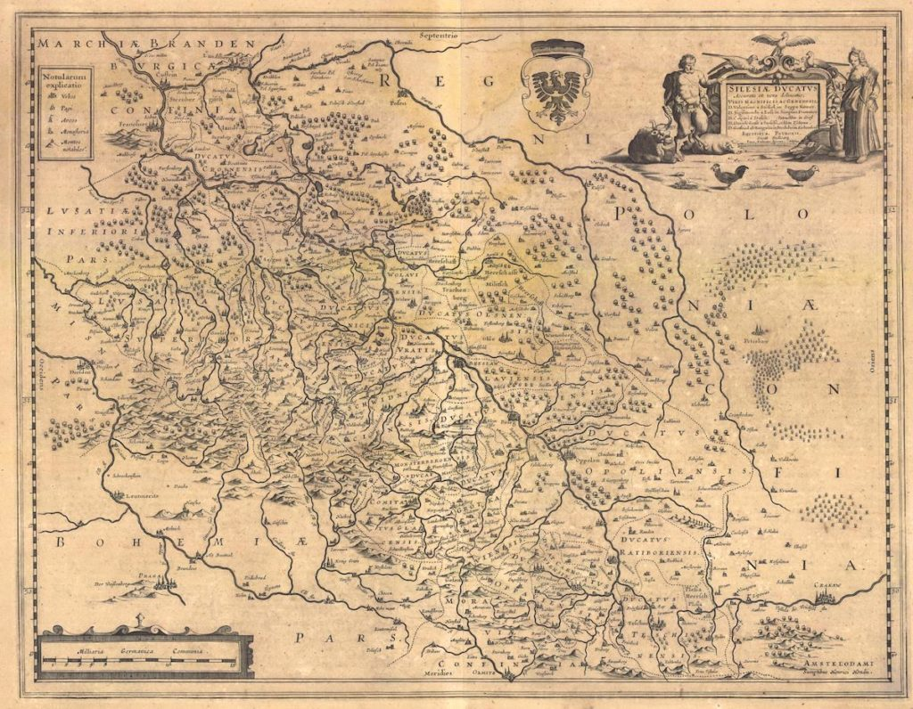 Mapa Śląska z 1650 roku – Autor: Jonas Scultetus
