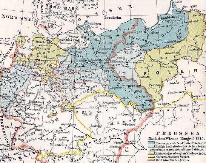 Terytorium Królestwa Prus (kolor ciemno i jasno niebieski) w 1815 roku