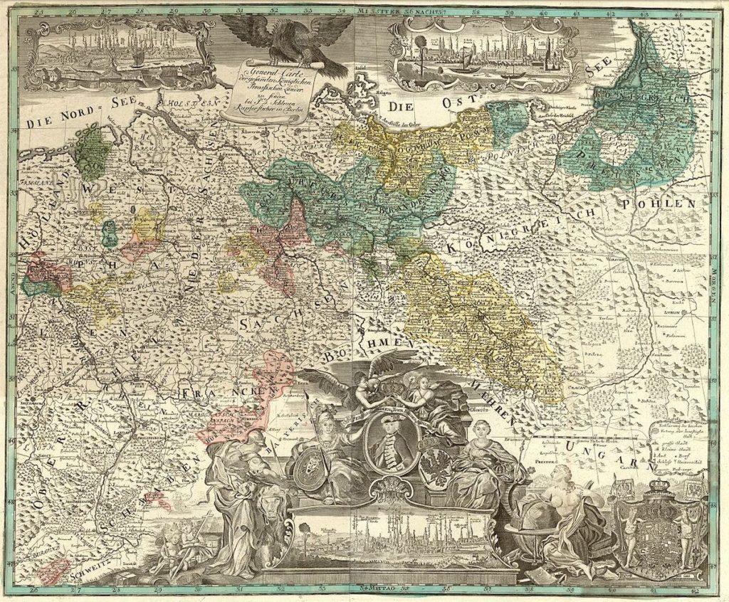 Mapa Królestwa Prus z 1770 roku z zaznaczonym zaanektowanym Śląskiem – Autor: Johann David Schleuen