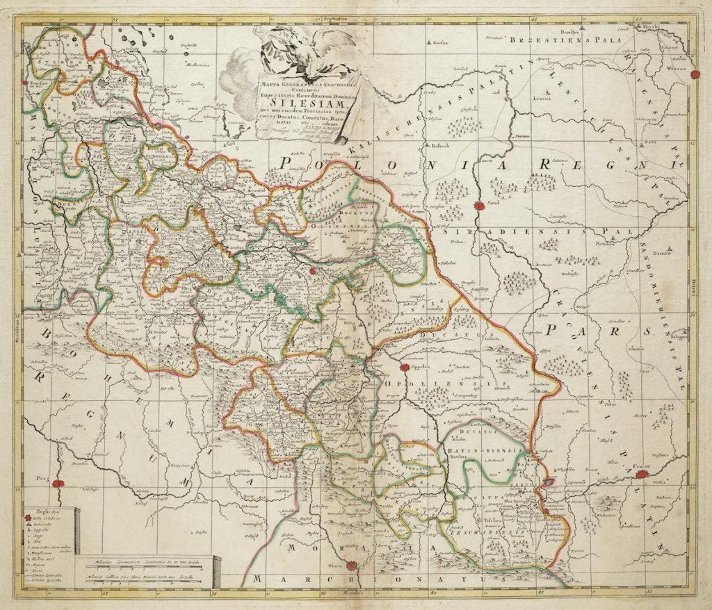 Mapa Śląska z 1710 roku – Autor: Petrus Schenk