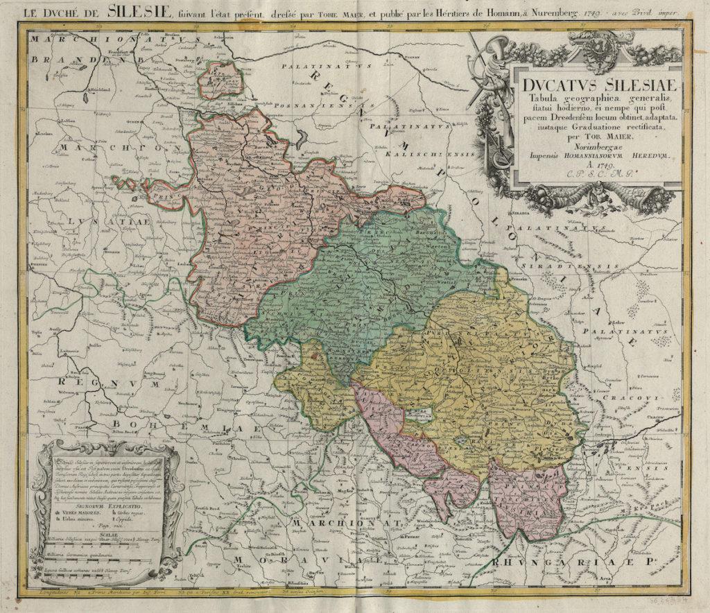 Mapa Śląska z 1749 roku – Autor: Tobias Mayer