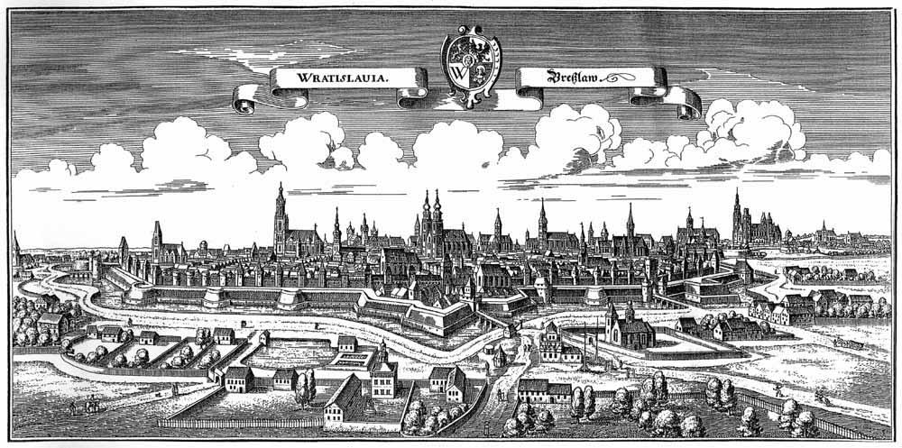 Panorama Wrocławia z połowy XVII wieku – Autor: Matthäus Merian