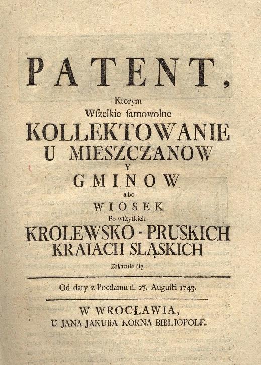 Patent Fryderyka II dla polskojęzycznej ludności Śląska wydany 27 sierpnia 1743 roku – Źródło: Biblioteka Śląska