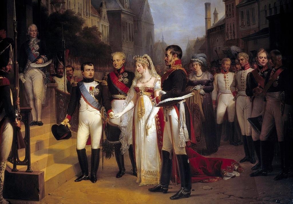 Pokój w Tylży, od lewej cesarz Napoleon Bonaparte, car Aleksander I Romanow z żoną i król Fryderyk Wilhelm III – Autor: Nicolas Gosse