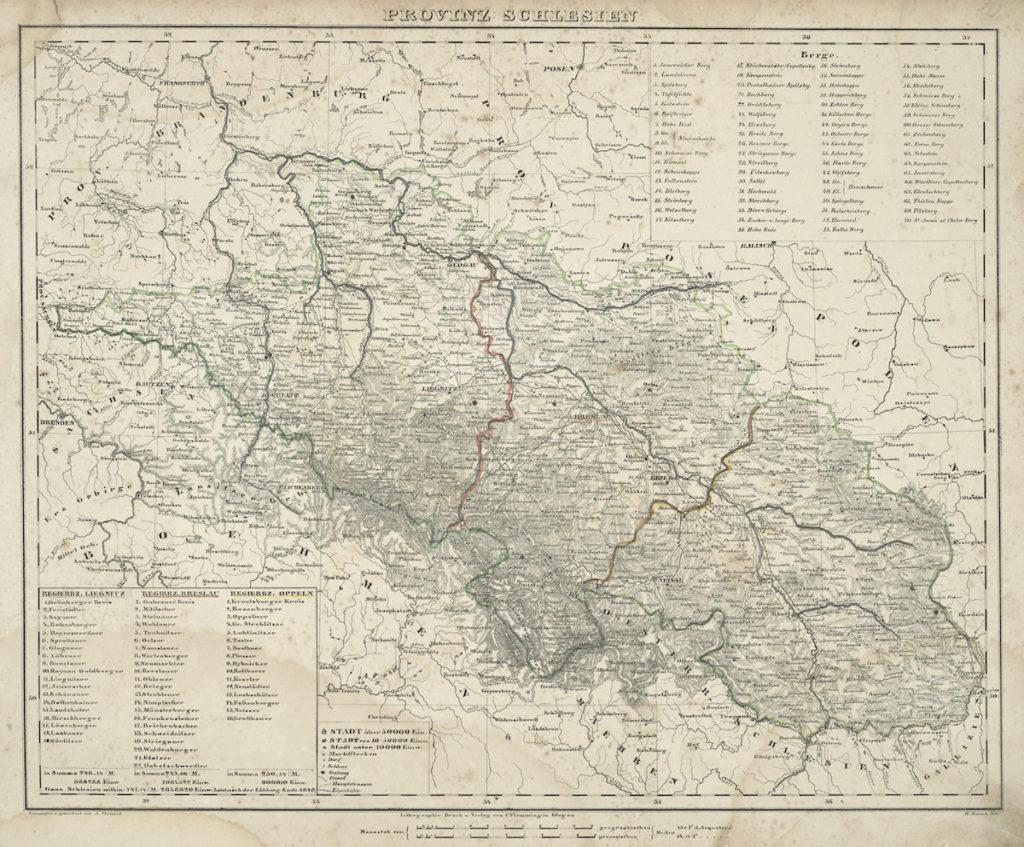 Mapa prowincji śląskiej z połowy XIX wieku, widoczny podział na trzy rejencje: legnicka (po lewej), wrocławska (po środku) i opolska (po prawej)