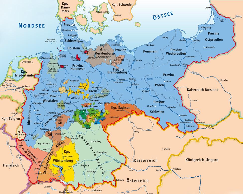 Mapa Cesarstwa Niemieckiego – Autor: Ziegelbrenner Źródło: wikimedia.org