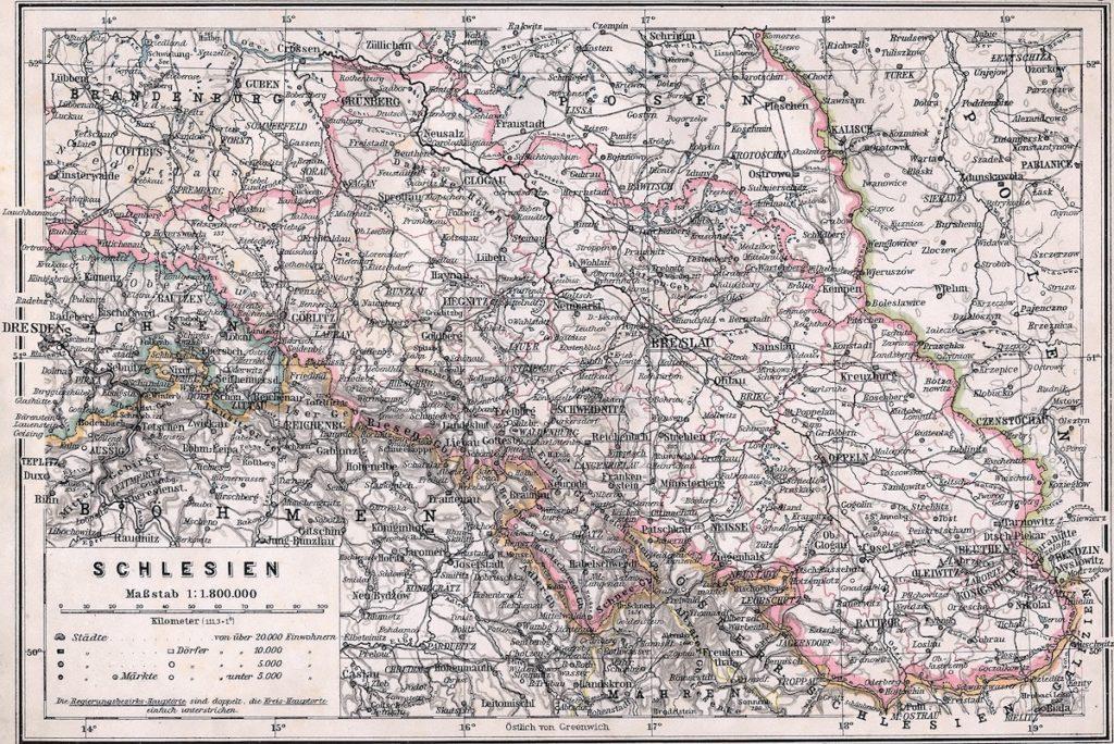 Mapa prowincji śląskiej z 19505 roku